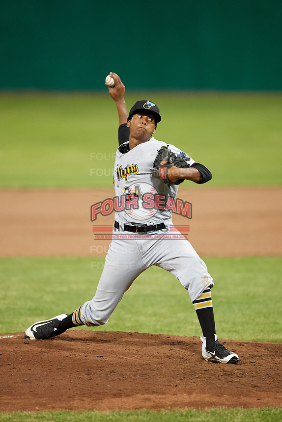 West Virginia Black Bears relief pitcher Francis Del Orbe (34) delivers a pitch during a game against the Batavia Muckdogs on June 18, 2018 at Dwyer Stadium in Batavia, New York.  Batavia defeated West Virginia 9-6.  (Mike Janes/Four Seam Images)