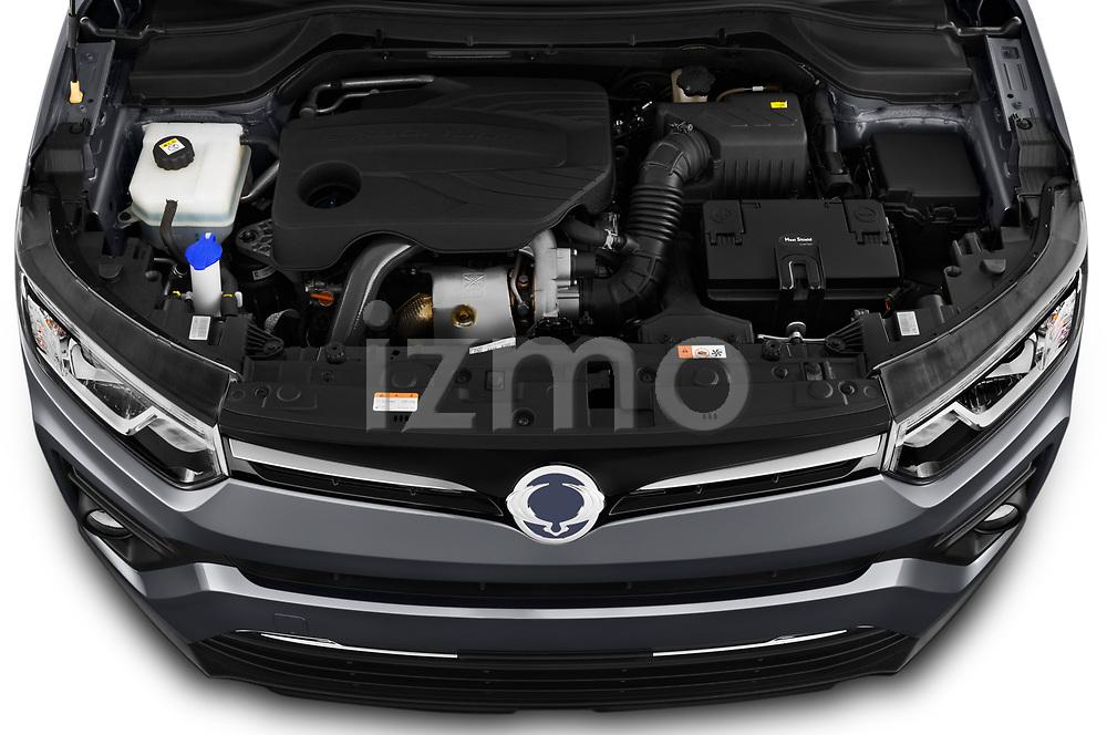 Car Stock 2020 Ssangyong Tivoli Quartz 5 Door SUV Engine  high angle detail view