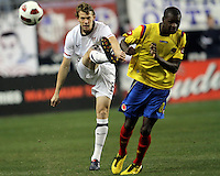 Jonathan Spector #2 of the USA MNT boots the ball clear of Victor Ibarbo #8 of Colombia during an international friendly match at PPL Park, on October 12 2010 in Chester, PA. The game ended in a 0-0 tie.