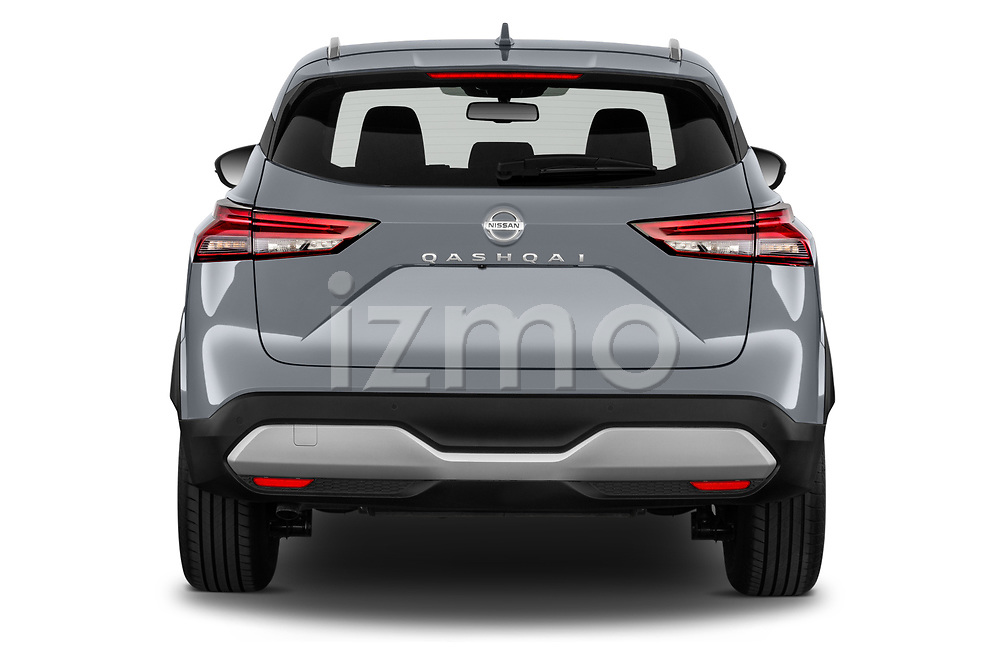 Straight rear view of 2022 Nissan Qashqai N-Connecta 5 Door SUV Rear View  stock images