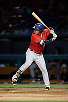 Jacksonville Jumbo Shrimp first baseman Eric Jagielo (25) at bat during a game against the Biloxi Shuckers on June 8, 2018 at Baseball Grounds of Jacksonville in Jacksonville, Florida.  Biloxi defeated Jacksonville 5-3.  (Mike Janes/Four Seam Images)