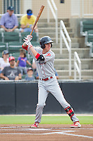 Carlos Tocci (15) of the Lakewood BlueClaws at bat against the Kannapolis Intimidators at CMC-NorthEast Stadium on July 20, 2014 in Kannapolis, North Carolina.  The Intimidators defeated the BlueClaws 7-6. (Brian Westerholt/Four Seam Images)
