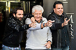 """Spanish director Marcos Cabota (L), american actor David Prowse (Darth Vader) and Spanish director Toni Bestard during the presentation of the film """"I Am Your Father"""" at Verdi Cinemas in Madrid, November 18, 2015.<br /> (ALTERPHOTOS/BorjaB.Hojas)"""
