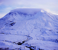 Mt. St. Helens with Lenticular Cloud in Winter from Johnston Ridge, Mt. St. Helens National Volcanic Monument, Washington, US