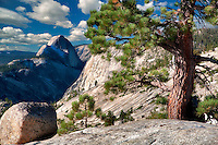 Granite rock and Half Dome. Yosemite National Park, California