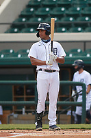 Detroit Tigers Riley Greene (13) bats during a Florida Instructional League game against the Toronto Blue Jays on October 28, 2020 at Joker Marchant Stadium in Lakeland, Florida.  (Mike Janes/Four Seam Images)