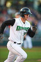Dayton Dragons catcher Garrett Boulware (30) runs to first during a game against the Great Lakes Loons on May 21, 2015 at Fifth Third Field in Dayton, Ohio.  Great Lakes defeated Dayton 4-3.  (Mike Janes/Four Seam Images)