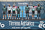 Bora-Hansgrohe at sign on before the start of Stage 2 of Tirreno-Adriatico Eolo 2021, running 202km from Camaiore to Chiusdino, Italy. 11th March 2021. <br /> Photo: LaPresse/Gian Mattia D'Alberto | Cyclefile<br /> <br /> All photos usage must carry mandatory copyright credit (© Cyclefile | LaPresse/Gian Mattia D'Alberto)