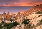 Eroded tufa cliffs, Cappadocia, Turkey