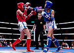 Wan Lok Yan (Red) of Hong Kong fights against Kim Suyoung (Blue) of South Korea in the female muay 51KG division weight bout during the East Asian Muaythai Championships 2017 at the Queen Elizabeth Stadium on 12 August 2017, in Hong Kong, China. Photo by Yu Chun Christopher Wong / Power Sport Images