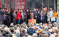Luton CEO Gary Sweet - Luton Town players and staff celebrate promotion in front of supporters during an open top bus journey through the streets of Luton displaying the trophy afte gaining promotion to the EFL Championship from League One on 5 May 2019. Photo by David Horn.