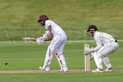 20th November 2020; John Davies Oval, Queenstown, Otago, South Island of New Zealand. West Indies Kraigg Braithwait clips off his pads during New Zealand A versus  West Indies
