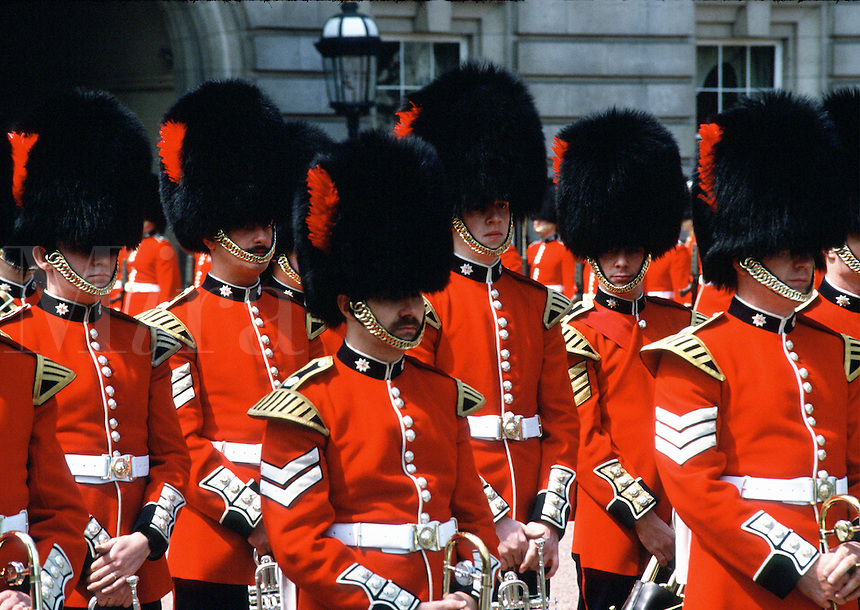 Soldiers in formation during the traditional Changing of the Guards at Buckingham Palace. London, England.