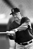 St.Louis Cardinals Coach Red Schoendienst at Dodger Stadium in Los Angeles,California during the 1996 season. (Larry Goren/Four Seam Images)