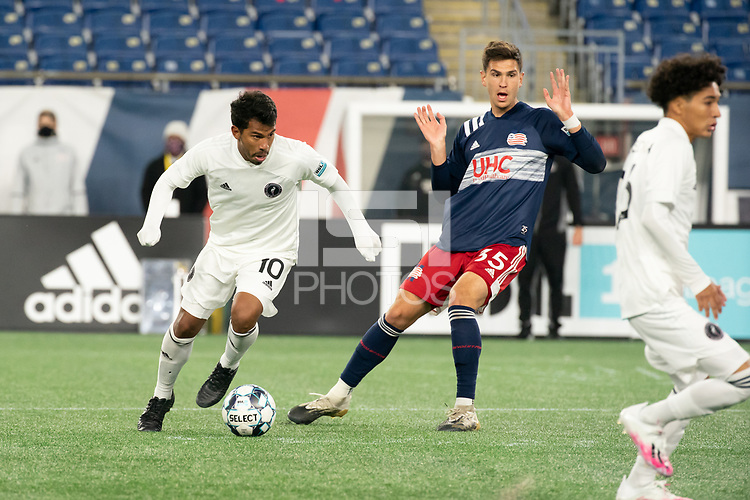 FOXBOROUGH, MA - OCTOBER 09: Mayele Malango #10 of New England Revolution II breaks free of Collin Verfurth #35 of New England Revolution II during a game between Fort Lauderdale CF and New England Revolution II at Gillette Stadium on October 09, 2020 in Foxborough, Massachusetts.