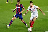 4th October 2020; Camp Nou, Barcelona, Catalonia, Spain; La Liga Football, Barcelona versus Sevilla;  Ocampos holds the ball away from Sergi Roberto of Barca