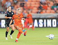 HOUSTON, TX - SEPTEMBER 10: Rachel Daly #3 of the Houston Dash passes the ball to a teammate during a game between Chicago Red Stars and Houston Dash at BBVA Stadium on September 10, 2021 in Houston, Texas.