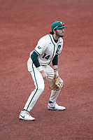Charlotte 49ers third baseman Austin Knight (14) on defense against the Tennessee Volunteers at Hayes Stadium on March 9, 2021 in Charlotte, North Carolina. The 49ers defeated the Volunteers 9-0. (Brian Westerholt/Four Seam Images)