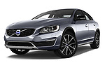 Stock pictures of low aggressive front three quarter view of 2017 Volvo S60 T5 Platinum 4 Door Sedan