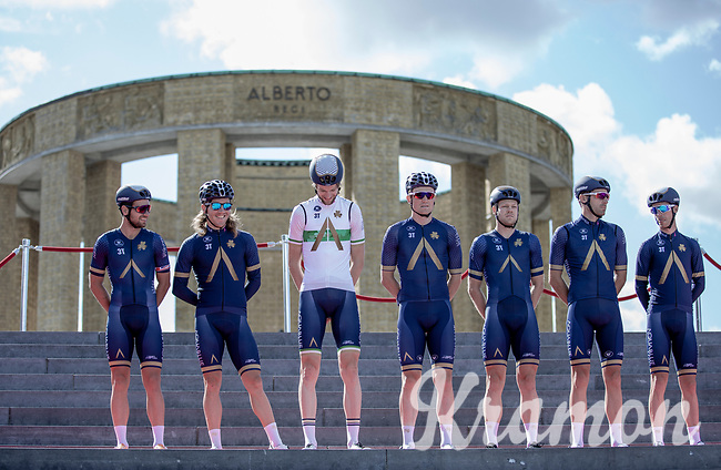 Team Aqua Blue Sport  at the pre race Team Presentation with the World War I memorial, King Albert I monument, in the background. <br /> <br /> <br /> 1st Great War Remembrance Race 2018 (UCI Europe Tour Cat. 1.1) <br /> Nieuwpoort > Ieper (BE) 192.7 km