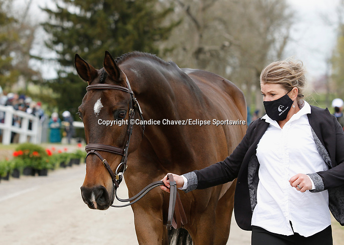April 21, 2021: 66 Grovine De Reve and rider Jonelle Price from New Zealand in the first horse veterinary inspection at the Land Rover Three Day Event at the Kentucky Horse Park in Lexington, KY on April 21, 2021.  Candice Chavez/ESW/CSM