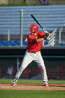 Williamsport Crosscutters first baseman Darick Hall (46) at bat during a game against the Auburn Doubledays on June 26, 2016 at Falcon Park in Auburn, New York.  Auburn defeated Williamsport 3-1.  (Mike Janes/Four Seam Images)