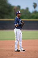 AZL Padres 2 third baseman Elvis Sabala (13) during an Arizona League game against the AZL Padres 1 at Peoria Sports Complex on July 14, 2018 in Peoria, Arizona. The AZL Padres 1 defeated the AZL Padres 2 4-0. (Zachary Lucy/Four Seam Images)