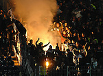 30.01.2011, Commerzbank-Arena, Frankfurt, GER, 1. FBL, Eintracht Frankfurt vs Borussia MGladbach, im Bild Pyro Technik in der Gladbacher Kurve, Foto © nph / Roth