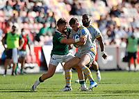 5th June 2021; Brentford Community Stadium, London, England; Gallagher Premiership Rugby, London Irish versus Wasps; James Stokes of London Irish tackles Josh Bassett of Wasps