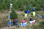 14th September 2012 - Devils Bridge - Mid Wales : WRC Wales Rally GB SS6 Myherin stage :  Rally fans with their flags.