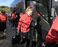 20200304  Parchal , Portugal : Belgian Sarah Wijnants pictured getting out of the bus before the female football game between the national teams of New Zealand , known as the Football Ferns and Belgium called the Red Flames on the first matchday of the Algarve Cup 2020 , a prestigious friendly womensoccer tournament in Portugal , on wednesday 4 th March 2020 in Parchal , Portugal . PHOTO SPORTPIX.BE | DAVID CATRY