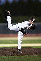 Wake Forest Demon Deacons relief pitcher Shane Smith (21) follows through on his delivery against the Louisville Cardinals at David F. Couch Ballpark on March 7, 2020 in  Winston-Salem, North Carolina. The Demon Deacons defeated the Cardinals 3-2. (Brian Westerholt/Four Seam Images)