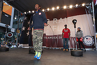 USA Olympic Boxing Team member Rau'shee Warren skips rope while Marlen Esparza and Marcus Browne look on at the Road to London 100 Days Out Celebration in Times Square in New York City, New York, USA on Wednesday, April 18, 2012.  Times Square was transformed into an Olympic Village for the event.