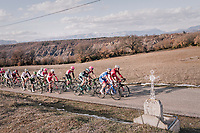 peloton with the Alps in the background<br /> <br /> 76th Paris-Nice 2018<br /> stage 5: Salon-de-Provence > Sisteron (165km)