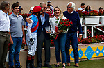 DEL MAR, CA  AUGUST 29: The very happy connections of #2 Medina Spirit ridden by John Velasquez, in the winners circle after winning the Shared Belief Stakes on August 29, 2021 at Del Mar Thoroughbred Club in Del Mar, CA. (Photo by Casey Phillips/Eclipse Sportswire/CSM)