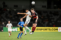 10th February 2021; Bankwest Stadium, Parramatta, New South Wales, Australia; A League Football, Western Sydney Wanderers versus Melbourne Victory; Rudy Gestede of Melbourne Victory and Patrick Ziegler of Western Sydney Wanderers challenge for the header