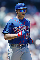 Jose Cruz jr. of the Toronto Blue Jays runs the bases during a 2002 MLB season game against the Los Angeles Angels at Angel Stadium, in Anaheim, California. (Larry Goren/Four Seam Images)