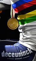 Picture by Simon Wilkinson/SWpix.com - 27/09/2020 - Cycling - UCI 2020 Road World Championships IMOLA - EMILIA-ROMAGNA ITALY - Road Race Elite Men<br /> FRANCE Julian Alaphilippe rainbow jersey press conference - SANTINI