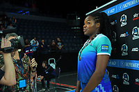 Grace Nweke waits to be interviewed after the ANZ Premiership netball final between Northern Mystics and Mainland Tactix at Spark Arena in Auckland, New Zealand on Sunday, 8 August 2021. Photo: Dave Lintott / lintottphoto.co.nz