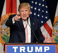 DORAL, FL - OCTOBER 23: Republican presidential candidate Donald Trump speaks at a campaign rally at Trump National Doral Miami Resort on October 23, 2015 in Doral, Florida. <br /> <br /> <br /> People:  Donald Trump