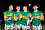 L-R Sean keane, Luke Brosnan, Dylan Casey and Sean O'Brien celebrate after defeating Cork in the Eirgrid Munster Football Final last Wednesday night March 4 at Austin Stack park, Tralee.