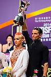 Aniello Langella and Khrystyna Moshenska of Italy celebrate winning the WDSF GrandSlam Latin on the Day 1 of the WDSF GrandSlam Hong Kong 2014 on May 31, 2014 at the Queen Elizabeth Stadium Arena in Hong Kong, China. Photo by AItor Alcalde / Power Sport Images