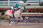 HALLANDALE BEACH, FL - JAN 20:X Y Jet #1 with Emisael Jaramillo in the irons for trainer Jorge Navarro wins the $100,000 Sunshine Millions Sprint Stakes at Gulfstream Park on January 20, 2018 in Hallandale Beach, Florida. (Photo by Bob Aaron/Eclipse Sportswire/Getty Images)