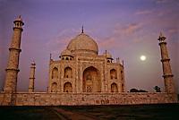 Majestic structure of the Taj Mahal at night, Agra, India.