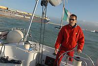 - sailing boat maneuvring in Livorno harbour<br /> <br /> - barca a vela in manovra nel porto di Livorno