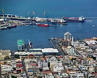 aerial photograph of the Port of Veracruz, Mexico, the oldest port in Mexico; fotografía aérea del Puerto de Veracruz, México, el puerto más antiguo de México