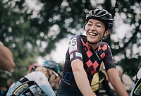 a cheerful Sophie de Boer (NED/LFT-Parkhotel) at the start; happy to see the colleagues again<br /> <br /> CX Brico Cross Eeklo 2017 (BEL)