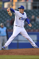 Omaha Storm Chasers starting pitcher Jonathan Dziedzic (12) throws a pitch against the Colorado Springs Sky Sox at Werner Park on April 5, 2018 in Omaha, Nebraska. The Sky Sox won 3-1.  (Dennis Hubbard/Four Seam Images)
