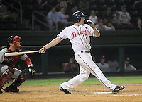 Sept. 18, 2009: Mitch Dening (17) hits. The Lakewood BlueClaws won Game 4 of the South Atlantic League Championship Series against the Greenville Drive 5-1 at Fluor Field at the West End in Greenville, S.C. Lakewood won the series 3 games to 1. Photo by: Tom Priddy/Four Seam Images