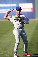 Brayan Buelvas (15) of the Stockton Ports throws before a game against the Rancho Cucamonga Quakes at LoanMart Field on May 26, 2021 in Rancho Cucamonga, California. (Larry Goren/Four Seam Images)